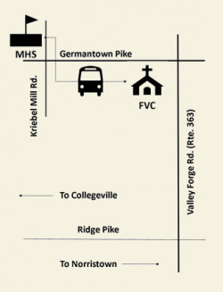 Map to parking at MHS for Fairview Village Egg Hunt